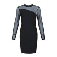 3e7d6cf6836c890 Solid Nude Sexy с длинным рукавом сетка Черное платье повязки 2019 Дизайнер  модное платье Vestido