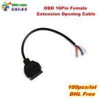 cable eobd obd2 al por mayor-100pcs / lot de apertura del OBD EOBD OBDII 16Pin Extensión femenina del cable de interfaz de diagnóstico OBD2 del coche conector hembra convertidor