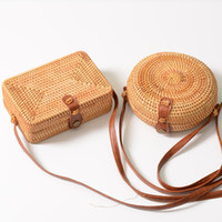 Wholesale handmade crochet handbags resale online - INS Hot Sales Handmade Designer Handbag for Women Woven Crossbody Bags Square Rattan Retro Literary Buckle Beach Messenger Designer Purse