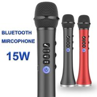Wholesale professional portable microphone for sale - Group buy L Professional W Portable USB Wireless Bluetooth Karaoke Microphone Speaker Home KTV for Music Playing and Singing Speaker