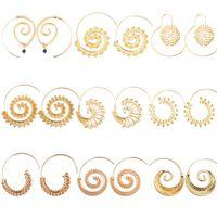 Wholesale black spiral earrings for sale - Group buy pretty Round Spiral Earrings Beautiful Beach Jewelry Personality Bohemia Ethnic Exaggerated Drop Earrings Love Heart Whirlpool Gear Earrings