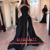 Wholesale white empire strapless prom dress resale online - Arabic Dubai Black Evening Dresses Thigh High Split Formal Evening Gowns Special Occasion Dress Party Celebrity Wear Long Prom Dresses