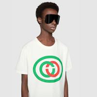 camisa da forma t de alta qualidade venda por atacado-2019 Logotipo Verde e Vermelho Impressão Tee Made In Italy Moda Masculina de Alta Qualidade Cor Bege Algodão Camiseta Casual Mulheres Tee T-shirt HFLSTX462