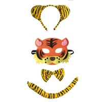 colas de diadema al por mayor-Tiger Animal Headband Bow Tie Tail Mask Cosplay Set Performance Props Party Christmas Halloween Costume for Kids Gift