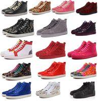 sandales de marine achat en gros de-Créateur de mode marque cloutés chaussures à crampons chaussures hommes sandales chaussures de fond rouge pour les hommes et les femmes fêtards baskets en cuir véritable