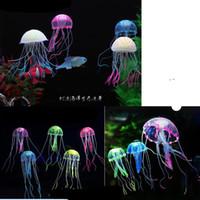 decoração de água-viva do aquário venda por atacado-Luminosa Medusa Fluorescência Fish Tank Aquarium Decoração Mini Tamanho Mix Subaquático Pet Decor Bardian Popular 5jl3 F1