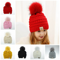 Wholesale black baby girl hats caps resale online - Cute Toddler Kids Girl Boy Baby Infant Winter Warm Crochet Knit Hat Beanie Cap Black Pink White Green