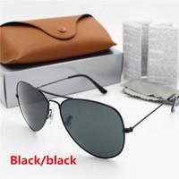 marco 62 al por mayor-gafas de sol de la vendimia de la alta calidad de los hombres del diseñador de la marca de moda caliente de YXVAXL caso de 1pcs lente de vidrio de 62 mm negro protección UV400 marco marrón negro