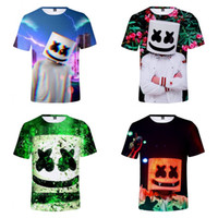 Wholesale home printing online - Peripheral Tone DJ Marshmello T Shirt Digital Printing Round Neck Short Sleeves Styles Summer Child And Adult Home Clothing hjE1