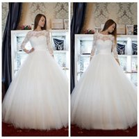 Wholesale color inspired wedding dresses resale online - Gorgeous Scoop Tulle A Line Sleeve Wedding Dress Lace Appliques Vintage Inspired Wedding Dresses Bodice Wedding Gowns with Sleeves