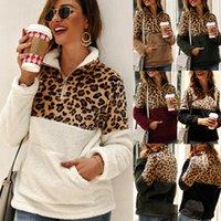 leopard pullover hoodie groihandel-Frauen Leopard Patchwork Pullover Langarm Reißverschluss Sherpa Sweatshirt Soft Fleece Outwear mit Taschen Tops Hoodie Mantel LJJA3035