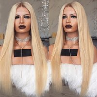 Wholesale ombre middle part wigs resale online - Glueless Blonde Lace Front Human Hair Wigs Brazilian Straight Full Lace Wig Pre Plucked Ombre Blonde Remy Wigs Middle Part