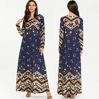 dubai islami elbise toptan satış-Yaz Vestidos Abaya Kaftan Dubai İslam Arapça Kaftan Müslüman Başörtüsü Elbise Kadın Elbise Ramazan Bayram Elbiseler Robe Femme Musulma