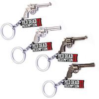 llavero pistola al por mayor-Red Dead Redemption Keychain Metal Carta Tag Pistola Llavero Llaveros Joyería de moda Will y Arena Envío de la gota