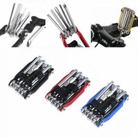 Wholesale kit bikes for sale - Group buy 4 Colors Cycling Bicycle Repair Tools Bike Pocket Multi Function Folding Tool in Kit Cycling Spanner Wrench Repair Set CCA11722