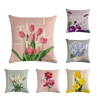 Wholesale korean cushions resale online - Korean English Letter Cushion Case Glory Floral Peny Cherry Pillow Cover Outdoor Cotton Linen Home Decorating Lumbar PillowZY495