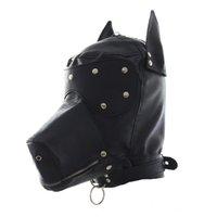 bdsm gags hoods toptan satış-Fetiş PU Deri SM Hood Köpek Maskesi Başkanı Demeti Seks Köle Yaka Tasma Ağız Gag BDSM Kölelik Körü Körüne Seks Oyuncakları Çift Için