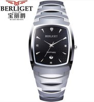 herrenuhren wolfram stahl großhandel-BERLIGET Tungsten Uhr Herren 50M Wasser BERLIGET Armbanduhren Herren Wolfram Stahl