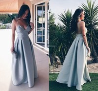 Wholesale 26w special occasion dresses resale online - Modern Prom Dresses Spaghetti Strap Deep V Neck A Line Backless Formal Party Evening Gowns Simple Special Occasion Dress Cheap Vestidos