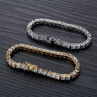 Wholesale tennis bracelets resale online - Tennis Bracelets Jewelry New Fashion Luxury Grade Quality mm Zircon Hip Hop Bracelets Exquisite K Gold Plated Chain Bracelets LBR073