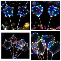 dekorasyon lambaları yıldızlar toptan satış-LED Flaş Bobo Balonlar Aşk Kalp Yıldız Şekilli Işık Şeffaf Balon Kutup Dize Işıklar Parti Dekorasyon Parti Iyilik OOA5994