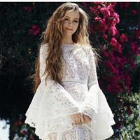 zarif seksi üniforma elbise toptan satış-2019 Zarif Beyaz Ruffles Patchwork Yaz Moda Elbise Flare Uzun Kollu Kadın Seksi Chic Seksi Maxi Ünlü Vestidos Festa J1