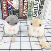 souvenirs d'animaux achat en gros de-Hamster Porte-clés Enfants Kawaii Mignon En Peluche Hamster Dessin Animé Animal Petit Hamster Poupées En Peluche Souris Sac Pendentif Souvenirs CCA11803 60pcs
