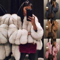 знаменитая одежда оптовых-YJSFG HOUSE Women Fur Coat Winter Warm Plush Teddy Coat  Fur Jacket Female Thicken Faux Outwear