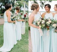 Wholesale pastel mints online - Mint Green Boho Plus Size Bridesmaid Dresses Spaghetti Sweep Train Chiffon Garden Bohemian Country Beach Wedding Guest Dress
