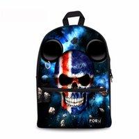 mochilas de niños de colores al por mayor-Noisydesigns Colorful Skull 3D Printing Hombro Mochila para estudiantes adolescentes niños regalos bolsa Personalizar imagen Niños Mochila
