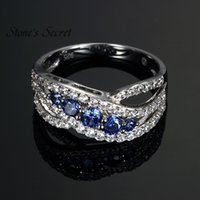 Wholesale tanzanite rings resale online - Fashion Curved Design Fashion Sterling Silver Tanzanite Engagement Rings Best selling Rings for Women