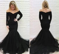 Wholesale red dress resale online - Arabric Lace Mermaid Evening Dress Off Shoulder Illusion Long Sleeves Sweep Train Modern Special Occasion Dress Sexy Party Prom Gown Vestido