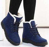 palmilhas venda por atacado-Botas de neve 2018 saltos clássicos mulheres de camurça botas de inverno quente pele de pelúcia Insole ankle boots mulheres sapatos hot lace-up sapatos mulher