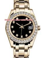 senhoras relógios mecânicos venda por atacado-12 estilo topselling de alta qualidade 31mm 36mm pearlmaster datejust 81298 diamante 18k ouro asia mecânico automático ladies watch mulheres relógios