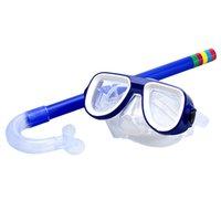 conjunto de snorkel para crianças venda por atacado-TOP! -Crianças Seguro Snorkel Mergulho Máscara + Snorkel Set Natação Esportes Aquáticos Para Criança 3-8 Anos de Idade Azul