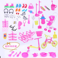 Wholesale barbies accessories resale online - Cute Inches Barbie Doll Accessories Baby Carriage Bicycle Play House Prop Crown Kitchen Utensils Christmas Kid Birthday Gift