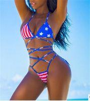 amerikanische flagge badeanzüge großhandel-Neue Sexy Girl Summer American Flag Farben der Vereinigten Staaten Thongs Seile Bikini Set Badeanzug Bademode Frauen Badeanzug