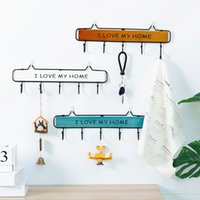 Wholesale keys hook rack resale online - High Quality Creative Wooden Metal Hook Wall mounted Key Clothes Hat Hook Storage Rack Porch Living Room Kitchen Wall
