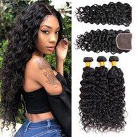 tecer extensões de cabelo para mulheres negras venda por atacado-Msjoli Water Wave Cabelo Bundle Com Lace Encerramento não transformados peruana Natural Preto de cabelo humano Extensão Weave com fecho Para Mulheres