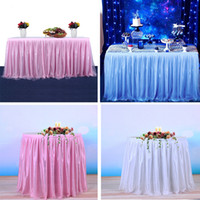 dantel düğün masa örtüleri toptan satış-38 Renkler Tül Tutu Masa Etek Düğün Parti Doğum Günü Dekor Için Sign-in Booth Dantel Masa Örtüsü DIY Zanaat Ev Tekstili Süslemeleri MMA1172
