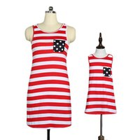 Wholesale striped dress pockets for sale - Group buy Mom Kids Striped Dress Dot Print Pocket Back Tassel American Flag Independence National Day USA th July Family Matching Outfits S XL