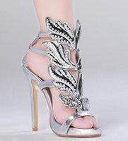 vente de sandales en robe en cuir achat en gros de-Ventes chaudes Argent Or Métal Strass Feuilles Découpes En Cuir Verni Femmes Plateforme Sandales Talons Hauts Robe Ailée Chaussures