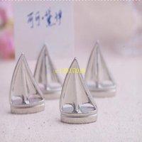 tekne malzemeleri toptan satış-100 adet Gümüş Yelkenli Tekne Adı Kart Tutucu Parti Masa Dekorasyon Metal Düğün Yeri Kart Tutucu Düğün Malzemeleri