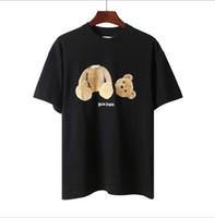 moda casual hombres s camiseta al por mayor-Mens camiseta del diseñador de moda de Palm Ángeles del oso de dibujos animados de estilo impresión de la letra Negro y suelta la camiseta blanca para hombres y mujeres