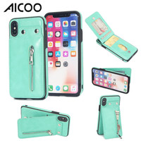 Wholesale iphone credit card case online - AICOO Zipper Leather Wallet Phone Case Shockproof Case with Credit Card Holder Kickstand for iPhone XS Max Samsung S9 Plus OPP
