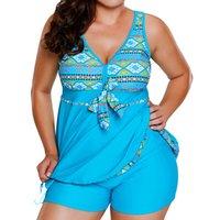 traje de baño boxer femenino al por mayor-Nueva moda Sexy gran tamaño traje de baño femenino caliente de gran tamaño conservador Boxer Split falda traje de baño jooyoo