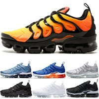 Wholesale soft work shoes resale online - TN Plus Sneaker Men Women Running Shoes Sunset Triple Black White Silver Patterns Game Royal Work Blue Trainer Sport Sneakers Size