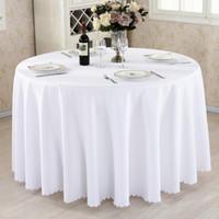 ingrosso coperchio per tavolo da pranzo-Tovaglia rotonda Camping Solid Color Table tovaglia bianca di lino Albergo festa di nozze Tovaglia pranzo e caffè copertura tavolo