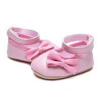 niedliche mädchen rosa schuhe kinder großhandel-Mädchenschuhe für Kindbaby nette Bogenweiche Unterseite PU-Kleinkind beschuht rosafarbenes Prinzessinkind für 0-18M