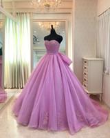 vestido de corsé púrpura claro al por mayor-Elegantes vestidos de quinceañera de color morado claro Arcos de novia Organza Aplique sin espalda Corsé Volver Vestido de fiesta barato Vestido de gala 16